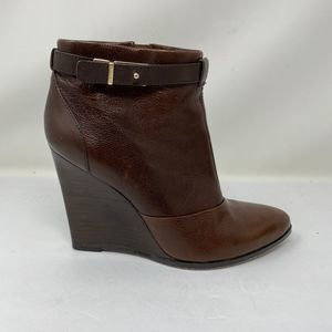 COACH 8.5 Melody Wedge Ankle Bootie Brown Leather